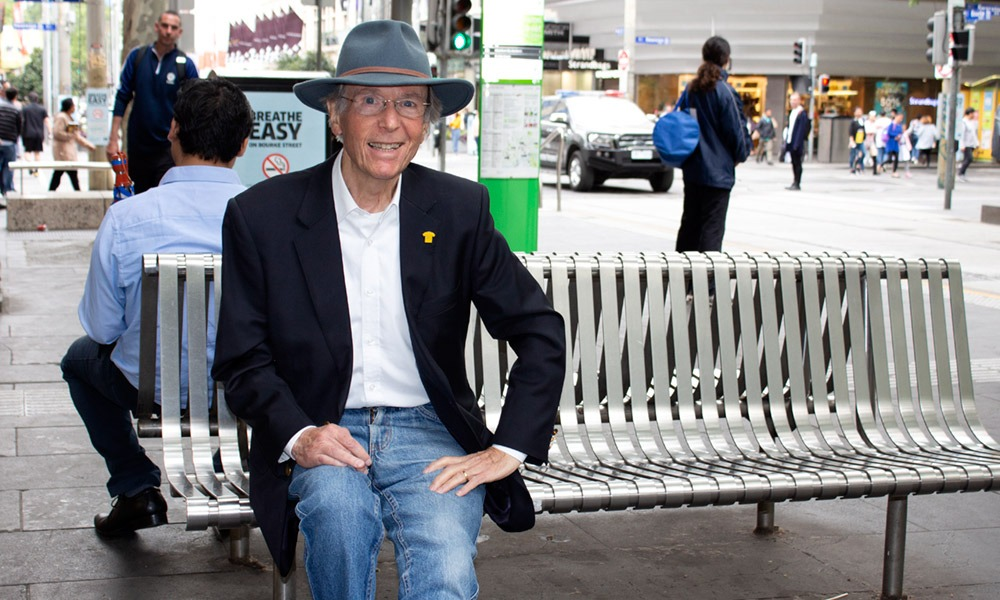 Ray Newland, consumer representative, sitting on bench