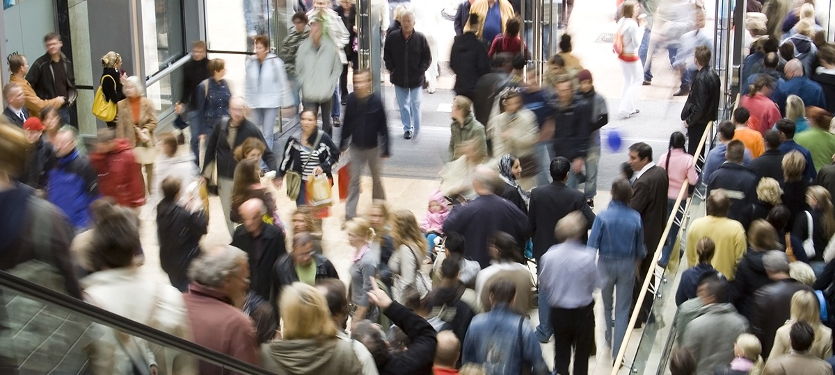 Crowd of people on escalator